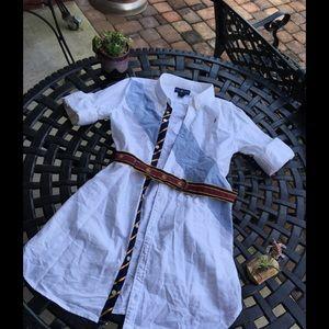 Ralph Lauren White and Blue Dress with Belt 14✨